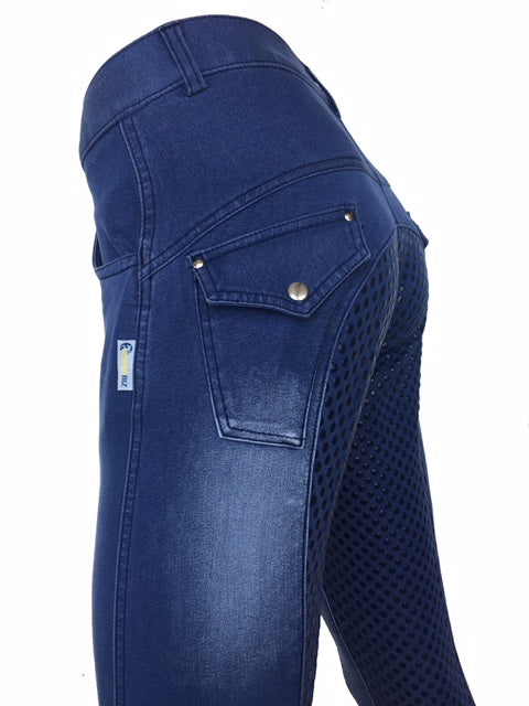 Ladies Denim Full Seat Silicone Print Breeches