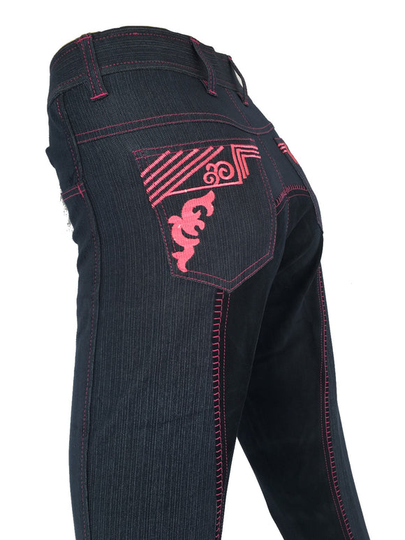 Ladies Denim Full Seat Breeches  - Pink Details