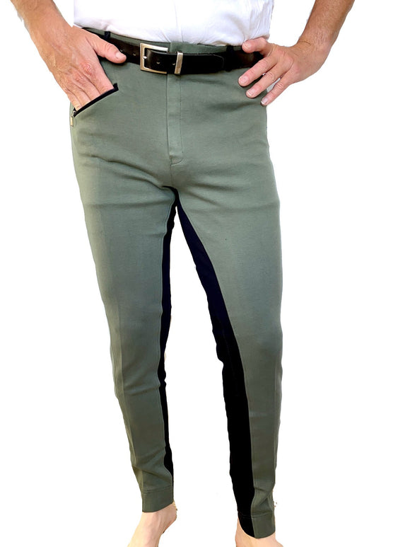 Mens Two-Tone Jodhpurs - Olive Green/Black