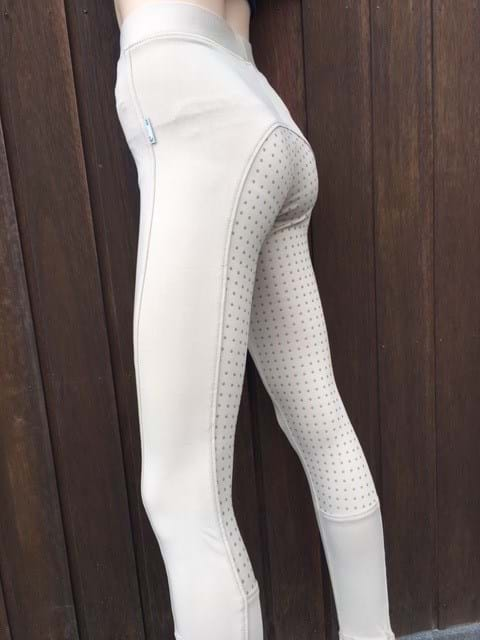 Ladies Full Seat Silicone Grip Riding Tight - White or Beige