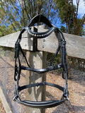 Black Leather Bridle with Drop Noseband and Pearl and crystal Browband