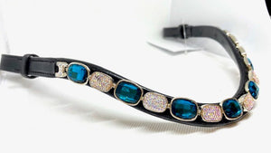 Blue/White Crystal Browband