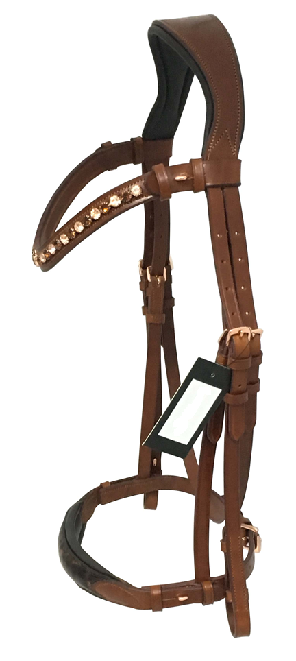 Tan Leather Cavesson Bridle - Crystal Browband