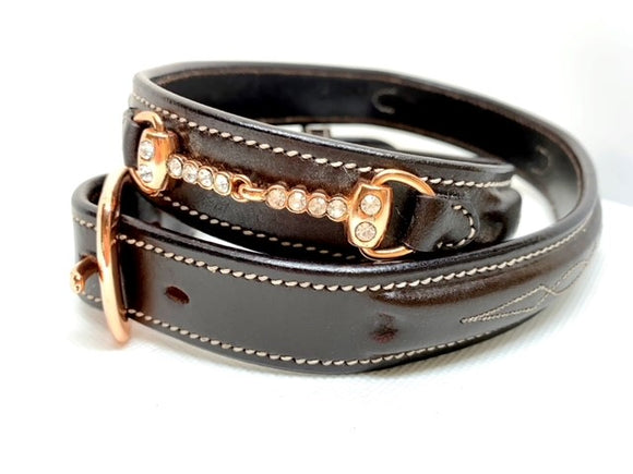 Rose Gold Crystal Bit Belt - Chocolate Brown Leather