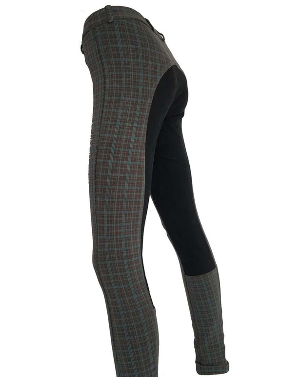 Girls Full Seat Plaid Jodhpurs -  Grey/Blue Check