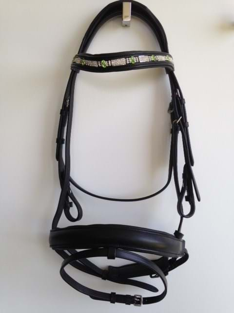Crank Flash Bridle - Green Bling Browband