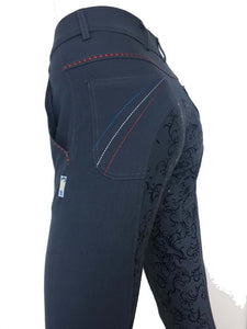 Ladies Floral Silicone Seat Breeches - Grey