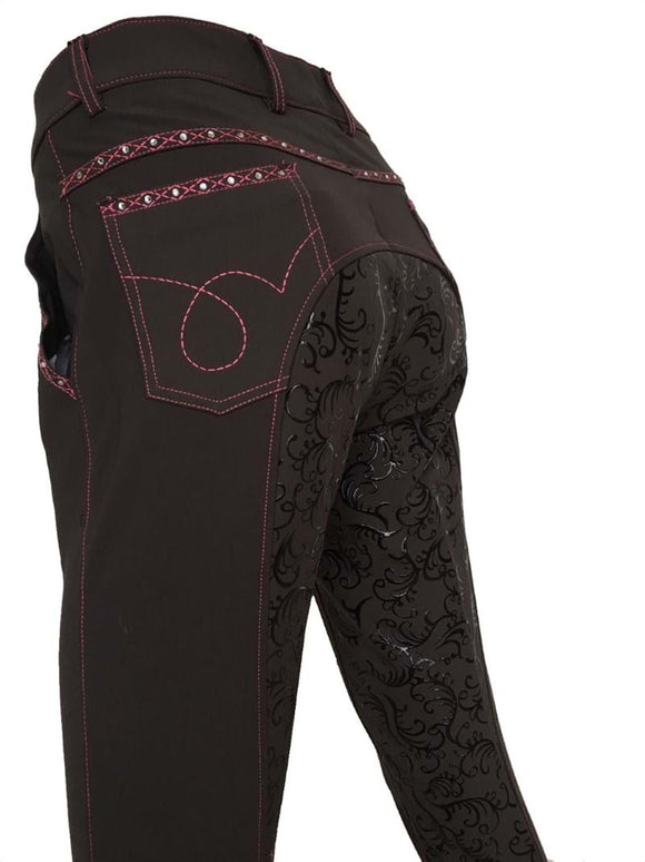 Ladies Floral Silicone Seat Breeches - Brown