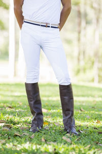 Mens H&H White Breeches Suede Knee