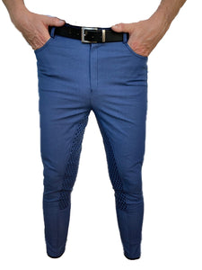 Mens Denim Full Seat Silicone Print Breeches