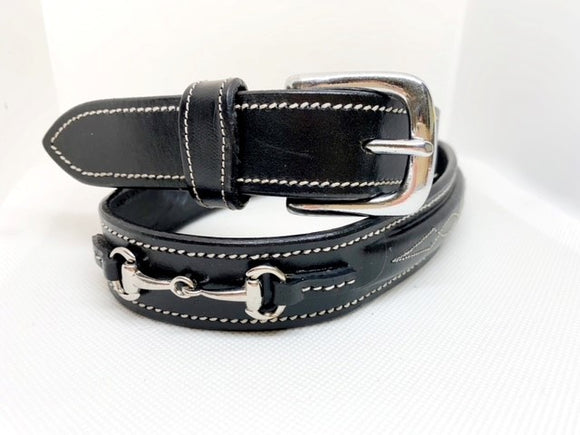 Crystal Bit Belt - Black Leather