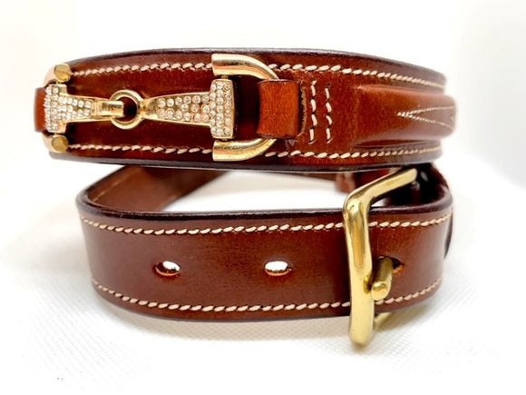 Crystal Bit Belt - Tan or Chocolate Brown Leather Options