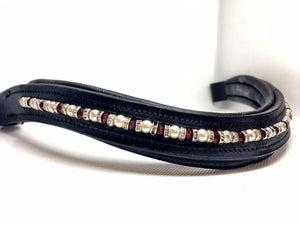 Pearl and Red Crystal Browband