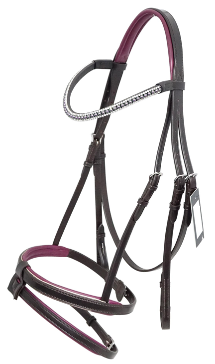 Brown Leather Hanoverian Bridle - Purple Detail
