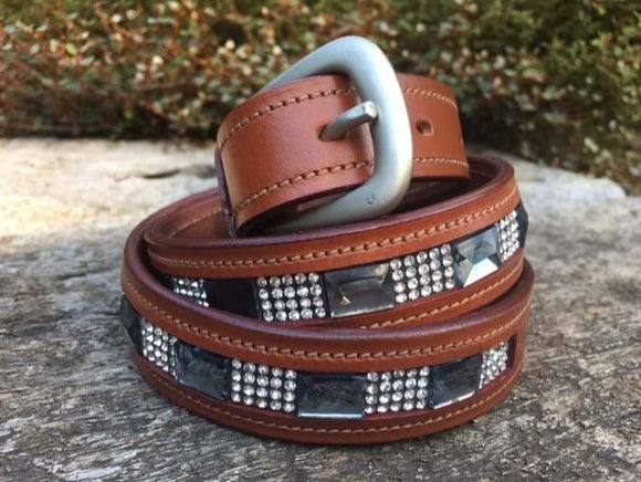 Tan Leather Crystal Belt