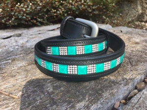 Turquoise Crystal Leather Belt