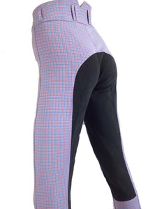 Ladies High Waist Full Seat Plaid Breeches - Various Colours