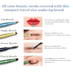 4 in 1 Travel Compact Size Make-Up Brush for Eyebrow Eyeshadow Eyeliner and Lips on 1 Handle - The Brush Brand