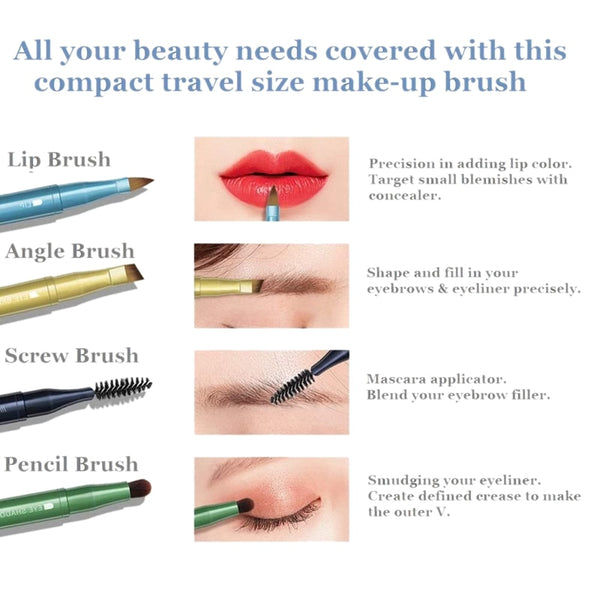 4 in 1 Travel Compact Size Make-Up Brush for Eyebrow Eyeshadow Eyeliner and Lips on 1 Handle