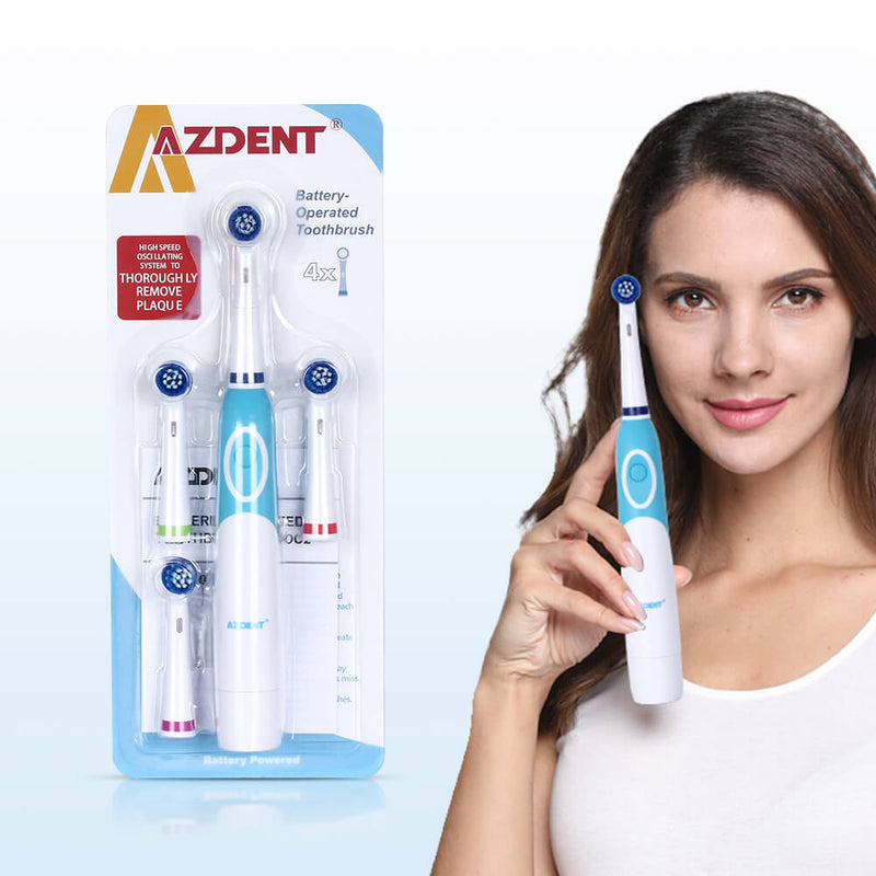 Rotating Electric Toothbrush Battery Power with 4 Brush Heads - The Brush Brand