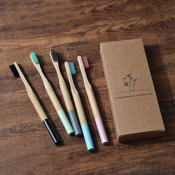 Biodegradable Eco-Friendly Bamboo Toothbrush 5 pack for adults - The Brush Brand