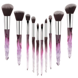 10pcs Makeup Brush Soft Type Cosmetic Face Powder Foundation Brush Synthetic Hair Crystal Handle Woman Make up Brush Kits Tools - The Brush Brand