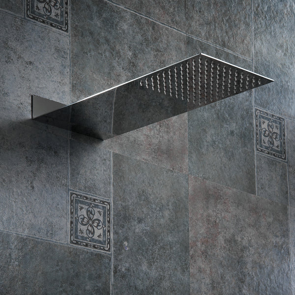 Square Stainless Steel  Rain Shower Head - The Brush Brand