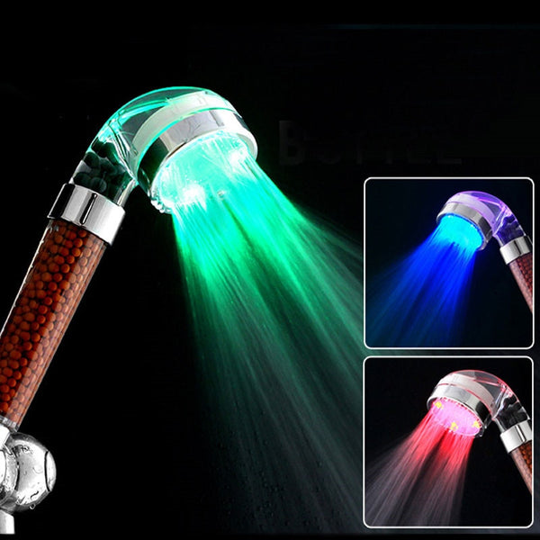 LED Anion Shower SPA Shower Head Pressurized Water Saving Temperature Control Colorful Handheld Big Rain Shower - The Brush Brand