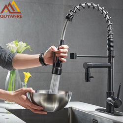 Spring Kitchen Faucet Pull out Side Sprayer Dual Spout Single Handle Mixer - The Brush Brand