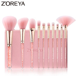 10PCS Pink Crystal Makeup Brushes - The Brush Brand