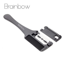 Brainbow 1pc Hair Cutting Comb Black Handle Hair Brushes with Razor Blades Cutting Thinning Trimmin Hair Salon DIY Styling Tools - The Brush Brand