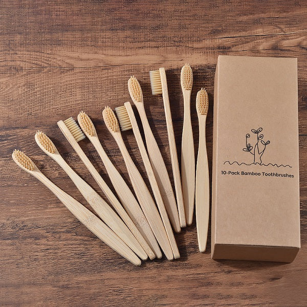 Biodegradable Eco-Friendly Bamboo Toothbrush 10 Pack - The Brush Brand