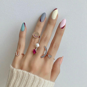 ANILLO HEART PEARL SMILE PAVE