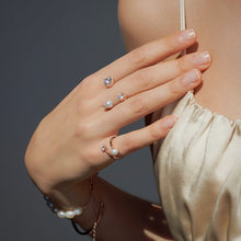 Load image into Gallery viewer, CAROLIN 2 ROUND PAVED PEARL RING