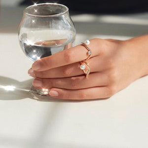 DAWN WAVE PEARL PAVED RING