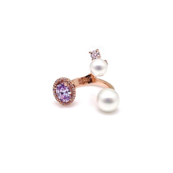 CAROLIN OVAL PAVED PEARL RING