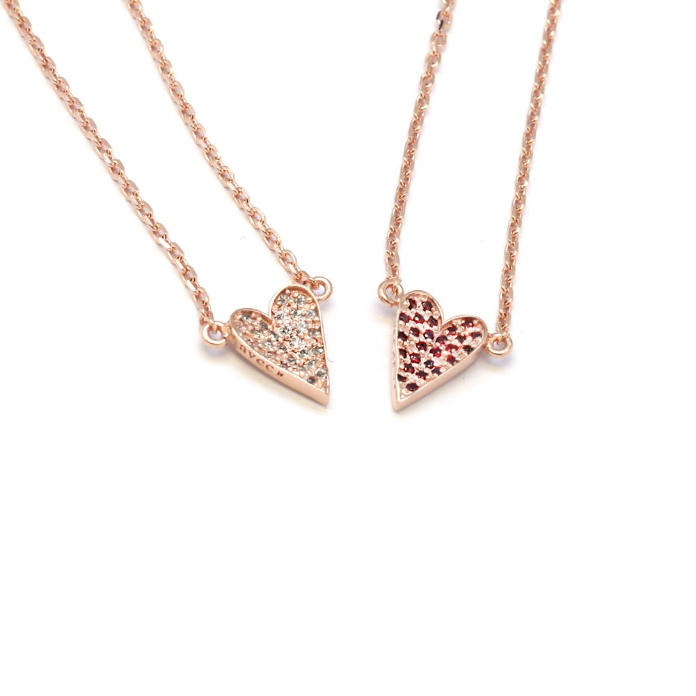 EllEY PAVED HEART CHAIN NECKLACE