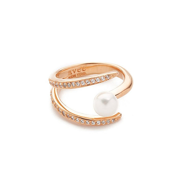ESTELLE PEARL PAVE RING