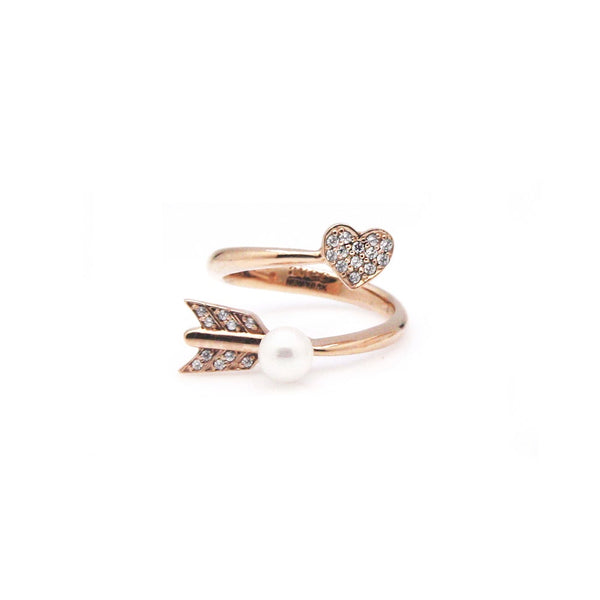 ELLEY2 PAVED HEART ARROW TWIST RING