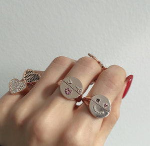 FIFI 1 STAR EYE SMILE HALFHALF RINGS