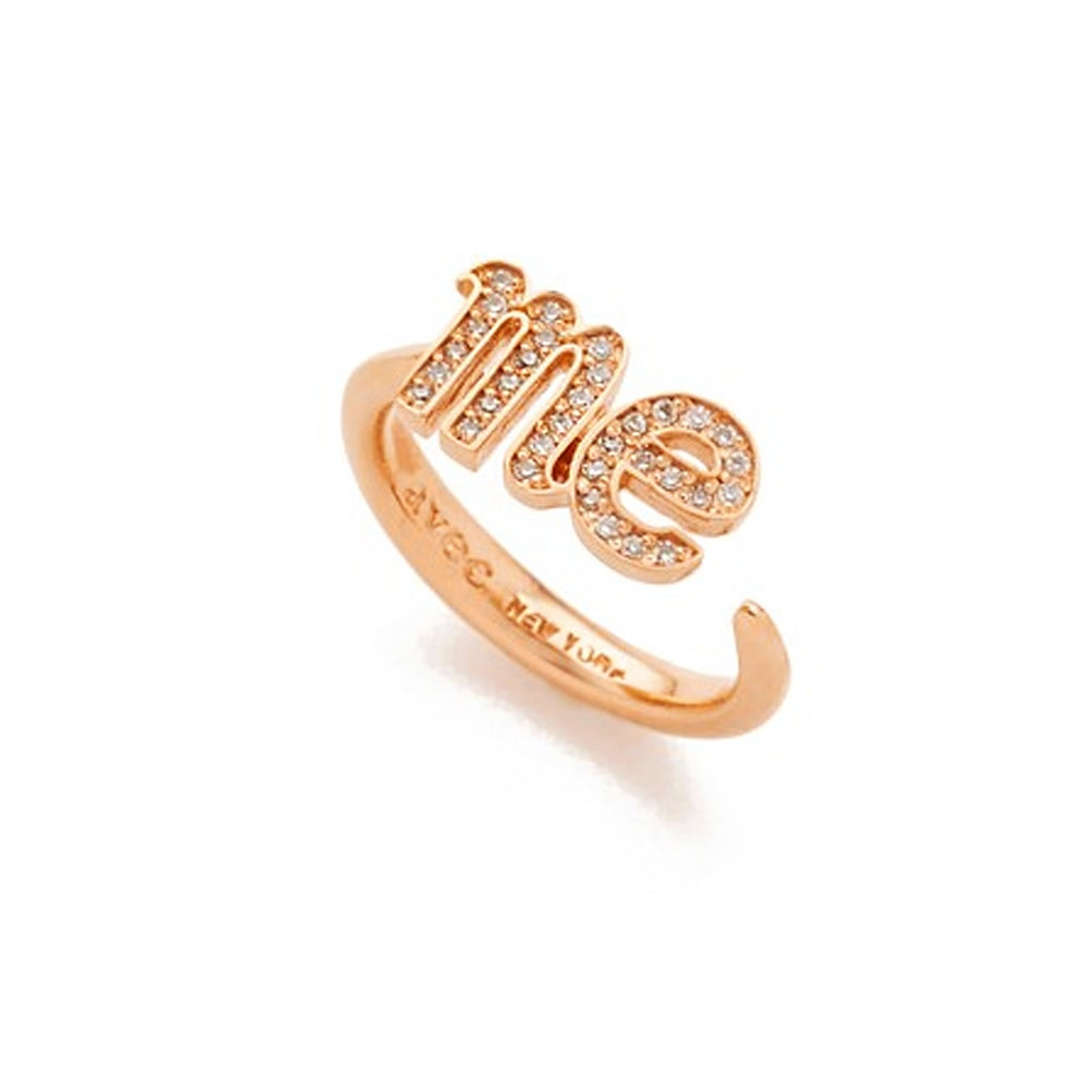 'ME' letter pave setting open ring