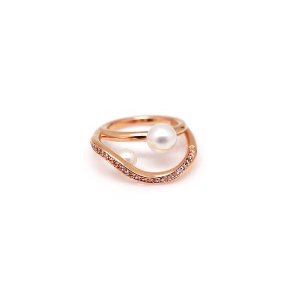 ANILLO GUILD WAVE PEARL PAVED
