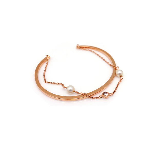 CECILLIA DBL CHAIN OPEN BANGLE