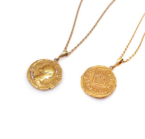 ANCIENT ROMAN STONED COIN NECKLACE