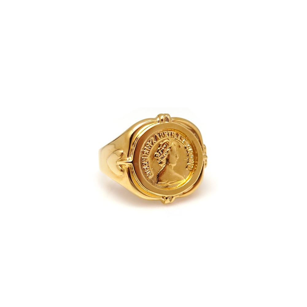 QUEEN ELIZA COIN SIGNET RING