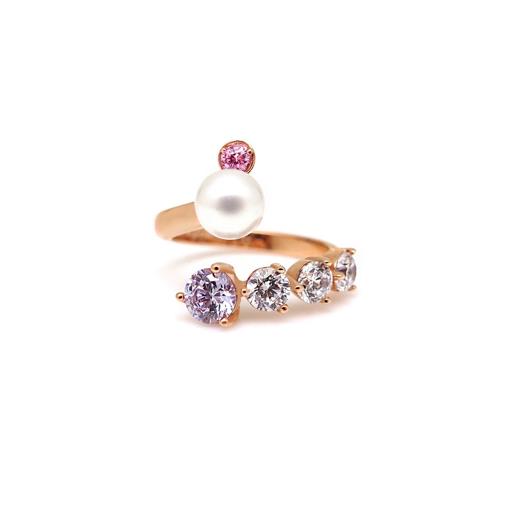 MADEMOISELLE 2 PEARL PAVED RING