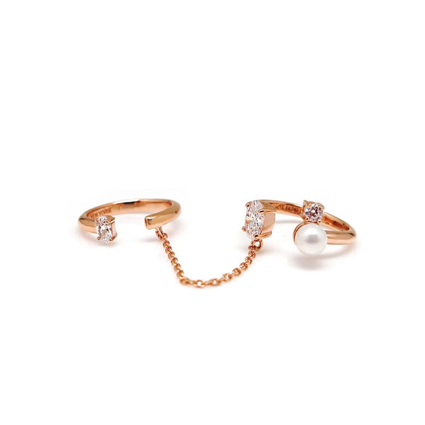 KAIA OVAL CHAINED DBL RINGS