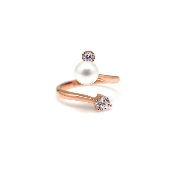 ASTOR PEARL STONE SPIRAL RING