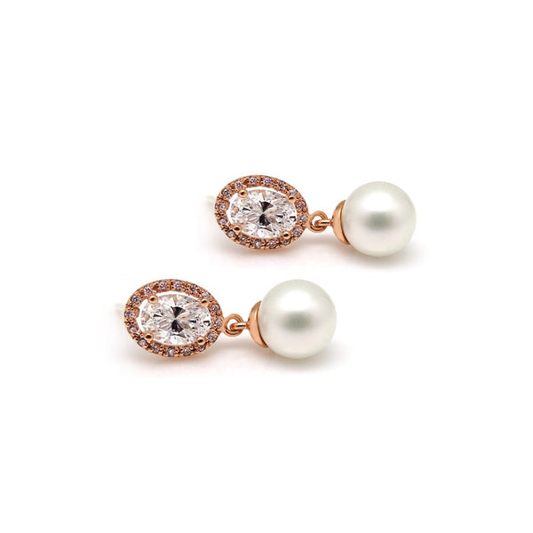 CAMBELL PAVED OVAL PEARL EARRING