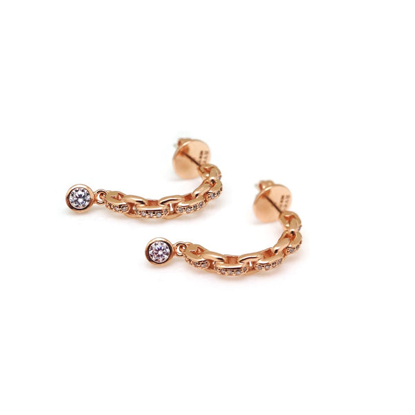 ESME PAVED LINK STONE EARRING